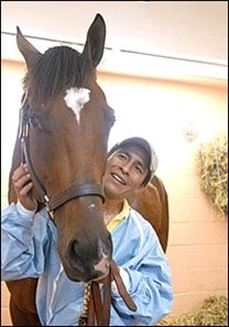 Jockey Edgar Prado visited Barbaro at the New Bolton Center Tuesday.