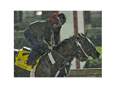 Santiva working in the rain at Churchill Downs.