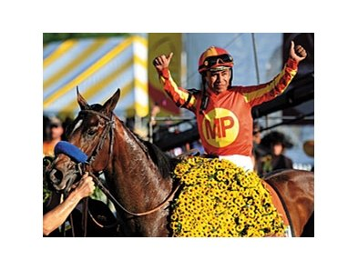 "Martin Garcia won the 2010 Preakness aboard Lookin At Lucky.<br><a target=""blank"" href=""http://www.bloodhorse.com/horse-racing/photo-store?ref=http%3A%2F%2Fpictopia.com%2Fperl%2Fgal%3Fprovider_id%3D368%26ptp_photo_id%3D8959664%26ref%3Dstory"">Order This Photo</a>"