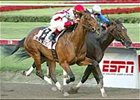 Second of June, inside, comes out of Fountain of Youth with Triple Crown campaign-ending injury.