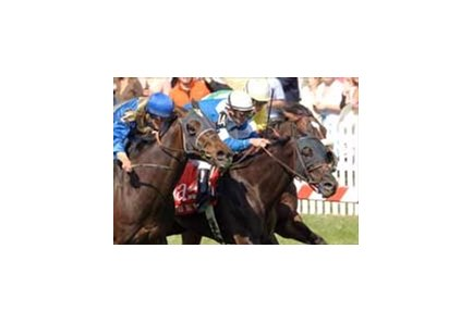 Better Talk Now and Ramon Dominguez (middle) teamed to win the grade II Dixie at Pimlico May 20.