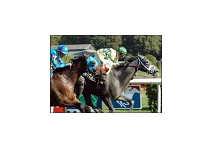 Honey Ryder, left, captures the Glens Falls Stakes ahead of Film Maker on closing day at Saratoga.
