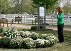 A fan pays her respects at John Henry's gravesite at the Kentucky Horse Park