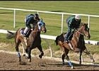Empire Maker, left, and stablemate Midas Eyes in Sunday workouts.