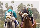 Obrigado and Garrett Gomez (right) hold off Runaway Dancer and Alex Solis (left) in San Luis Obispo win.