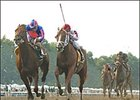 Lion Heart, left, leads My Snookie's Boy, center, en route to winning the  Long Branch Breeders' Cup Stakes.