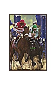 War Emblem, in green shadow roll, stumbles at the start of the Belmont Stakes.