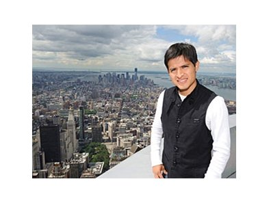 Mario Gutierrez atop the Empire State Building.