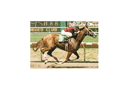 Old Topper winning the Pat O'Brien Handicap, August 1998.