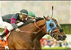 Milwaukee Brew, left, catches favored Congaree to join John Henry as the only two two-time winners of the Santa Anita Handicap.
