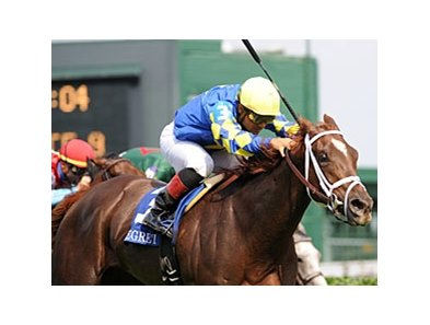 "Caminadora upsets the Regret Stakes under Corey Nakatani.<br><a target=""blank"" href=""http://www.bloodhorse.com/horse-racing/photo-store?ref=http%3A%2F%2Fpictopia.com%2Fperl%2Fgal%3Fprovider_id%3D368%26ptp_photo_id%3D9063801%26ref%3Dstory"">Order This Photo</a>"