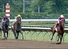 Jockey Edgar Prado, far right, takes Peace Rules down the stretch to win the 2003 Haskell Invitational Handicap Sunday at Monmouth Park.