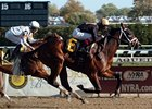 "Favorite Spanky Fischbein takes the Great White Way Division of the New York Stallion Series at Aqueduct.<br><a target=""blank"" href=""http://www.bloodhorse.com/horse-racing/photo-store?ref=http%3A%2F%2Fpictopia.com%2Fperl%2Fgal%3Fprovider_id%3D368%26ptp_photo_id%3D2751532%26ref%3Dstory"">Order This Photo</a>"