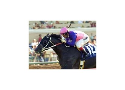 T. H. Approval, here winning the Del Mar Handicap, has been retired.