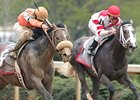 Old Fashioned (right) attempts to turn the tables against Rebel Stakes winner Win Willy in the Arkansas Derby.