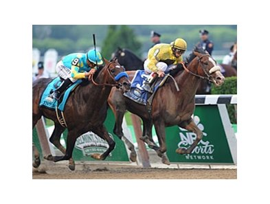 "Union Rags gets through late to win the Belmont Stakes.<br><a target=""blank"" href=""http://photos.bloodhorse.com/TripleCrown/2012-Triple-Crown/Belmont-Stakes-144/23333063_3WZKbw#!i=1895693254&k=nsBGCT3"">Order This Photo</a>"