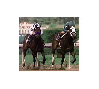 Cash Run (1), ridden by Jerry Bailey, charges for the finish line with Chilukki (3), ridden by David Flores, in pursuit during the Breeders Cup Juvenile Race, November 1999. at Gulfstream Park