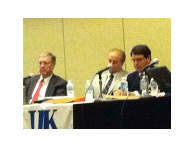 Left to right: Nick Nicholson, Matt Iuliano, and Alan Foreman at the panel discussion on race-day medication, part of the first day of the University of Kentucky Equine Law Conference.