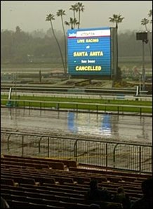 Heavy rain forced cancellation of racing at Santa Anita following the first race Sunday.