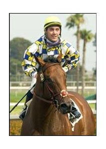 Michael Baze, shown with Hollywood Juvenile winner Salute the Sarge, became the youngest jockey to win a riding title at Hollywood's spring/summer meet since Shoemaker.
