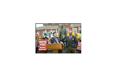 Maryland Gov. Robert Ehrlich speaks at pro-slots rally Tuesday.