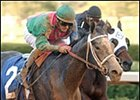 Ruby's Reception (left) in upset Fantasy Stakes win.