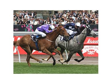 Theseo (left) gets up late to take the Crown Mackinnon Stakes.
