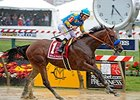 "Triple Crown winner American Pharoah fell to second in the current rankings at 128.<br><a target=""blank"" href=""http://photos.bloodhorse.com/TripleCrown/2015-Triple-Crown/Preakness-Stakes-140/i-VW2Nn6Z"">Order This Photo</a>"