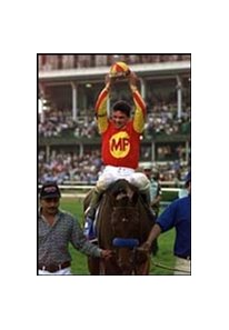 Jockey Kent Desormeaux, after winning the Kentucky Derby with Real Quiet.