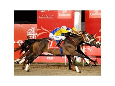 Gloria de Campeao (yellow cap) won the 2010 Dubai World Cup by a nose.