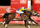 Gloria de Campeao (yellow cap) gets his nose in front to take the Dubai World Cup.