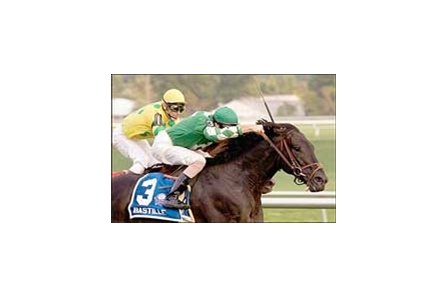 Bastille wins the John D. Schapiro Memorial Breeders' Cup by a neck.