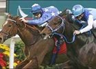 Pride, left, slips by Admire Moon on the way to a win in the Cathy Pacific Hong Kong Cup.