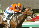 Atswhatimtalknbout carries David Flores to victory in Santa Anita's second race, a $56,000 allowance event for 3-year-olds, Thursday, Feb. 20, 2003, Arcadia, CA.  The son of A.P. Indy, owned by B. Wayne Hughes and trained by Ron Ellis covered the 1 1/16 miles in a swift 1:41.89. ©Benoit Photo