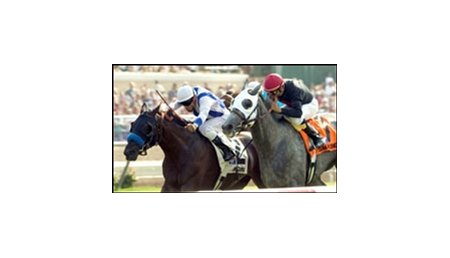 Amorama (2) beats Island Fashion to win the John C. Mabee Handicap, Saturday at Del Mar.