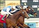 Icantgoforthat, inside, holds off Polygreen to win the Monrovia Handicap, Monday at Santa Anita.