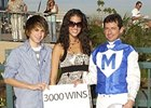 Joining jockey Ricky Frazier on the occasion of his 3,000th career victory are his fiancée Kennis Weiler and Frazier's 15-year-old son Dylan, on November 17, 2007 at Turf Paradise.