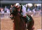 Congaree, ridden by Gary Stevens, crosses the wire first in the Grade I $500,000 Swaps Stakes, Sunday, July 15, 2001, at Hollywood Park in Inglewood, Calif. (AP Photo/Benoit Photo)