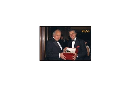 Coolmore's John Magnier (left) receives award from Arnaud Bamburger of Cartier.