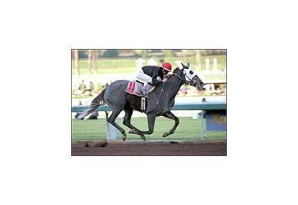 Island Fashion wins the La Brea Stakes, Saturday at Santa Anita.