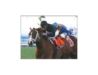 Ramazutti, shown winning the Mac Diarmida, will break from the rail in the Stars and Stripes at Arlington Wednesday.