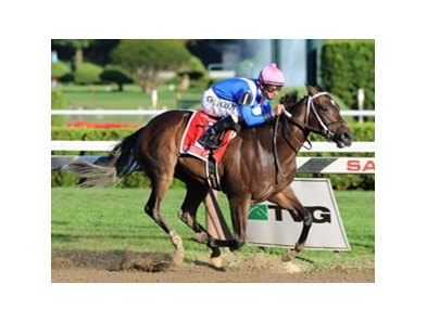 "Hot Dixie Chick put away a pair of rivals and glided home to win the Spinaway Stakes at Saratoga.<br><a target=""blank"" href=""http://www.bloodhorse.com/horse-racing/photo-store?ref=http%3A%2F%2Fpictopia.com%2Fperl%2Fgal%3Fprovider_id%3D368%26ptp_photo_id%3D8460677%26ref%3Dstory"">Order This Photo</a>"