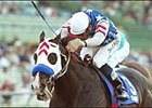 During, with David Flores aboard, runs to victory in the San Fernando Breeders' Cup Stakes, Saturday at Santa Anita.