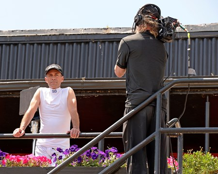 Caption:  Gary Stevens in the jocks area while NBC shoots him