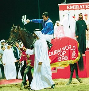 Almutawakel after his victory in the 1999 Dubai World Cup.