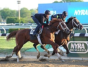 Carpe Diem (inside) and Madefromlucky work at Belmont Park on May 22, 2015.