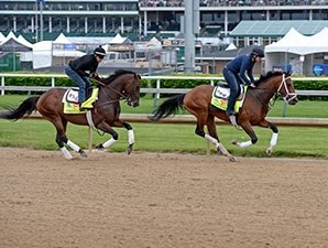 Tencendur (left) and Firing Line - Churchill Downs, April 30, 2015.