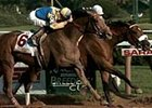 Unshaded (left), with Shane Sellers in the irons, wins the Travers Stakes over Albert the Great (right).