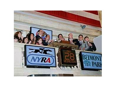 NYRA and IEAH officials at the May 28 opening of the New York Stock Exchange.