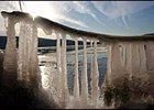 Icicles form on a branch hanging over the bank of the Susquehanna River in Pennsylvania.